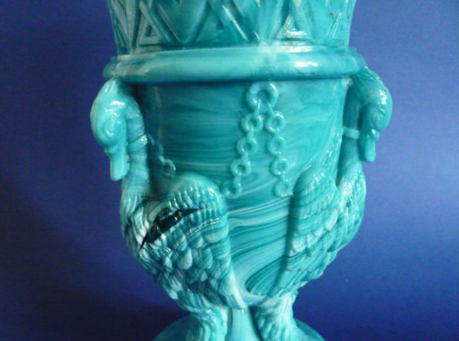 Sowerby Turquoise Malachite Slag Glass Gryphon Or Chained Swans Vase C P